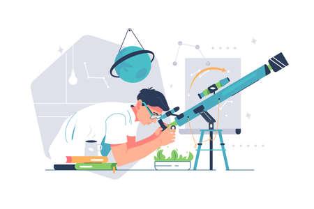 Man study galaxy through telescope
