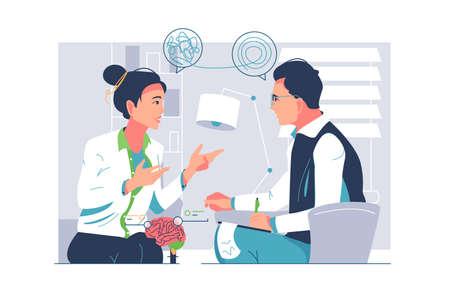 Practicing lady psychologist consulting patient Vektoros illusztráció