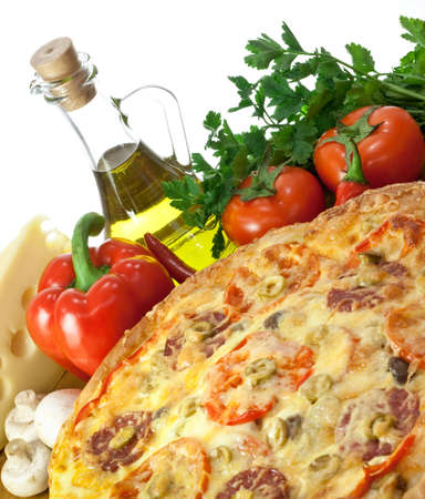 Pizza and ingredients: pepper, olive oil, cheese, mushrooms