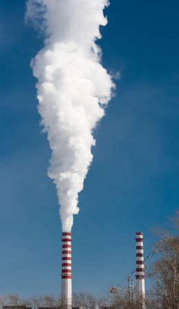 smoke stack: Smoking gas power plant stacks Stock Photo