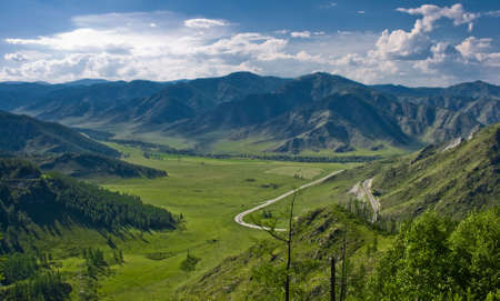 altai: View from pass to green valley, Altai, Russia