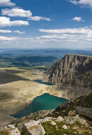 rockslide: Beautiful view from mountain Sarlyk on Altai few hours before full eclipse