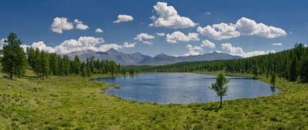 to altai: Panorama of lake, Altai, Russia