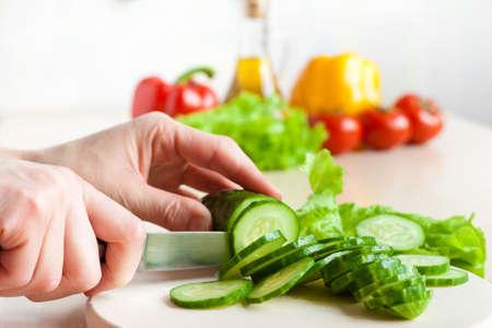 Cucumber chopping process photo