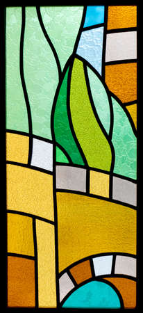 vitrage: Colorful stained glass one fragment