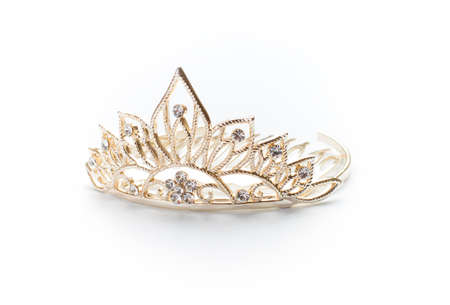 prom queen: Isolated golden tiara, crown or diadem on white