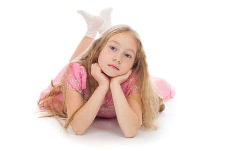 girl socks: Beautiful girl lying on floor isolated studio shot