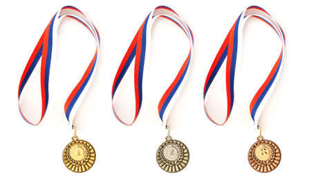 Complete set of sport medals isolated on white Stock Photo - 6069251