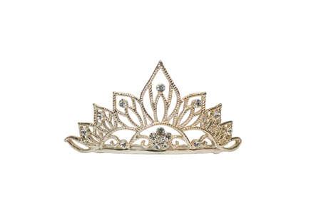 corona reina: Tiara aislado o diadema sobre blanco