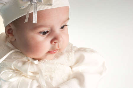 Little 3 months baby-girl dressed in white suit portrait Stock Photo - 6149297