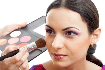 blusher: Makeup applying blusher