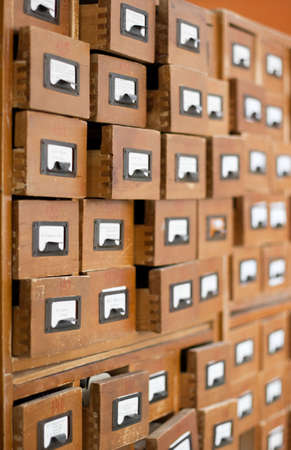 Old wooden card catalogue photo