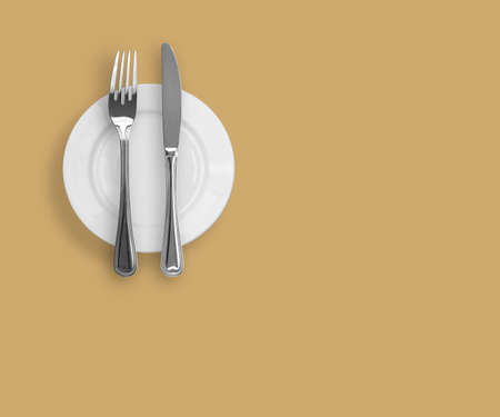Knife, plate and fork on beige background Stock Photo - 6709717