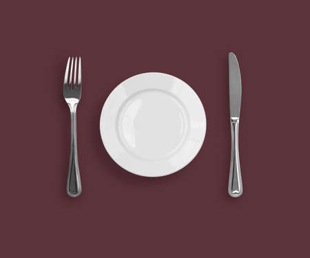 Knife, plate and fork on purple background Stock Photo - 6709728