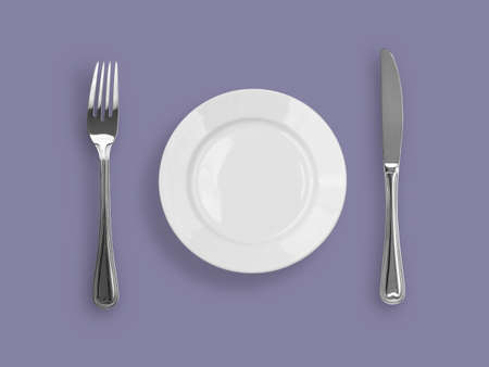 Knife, plate and fork on violet background Stock Photo - 6709729
