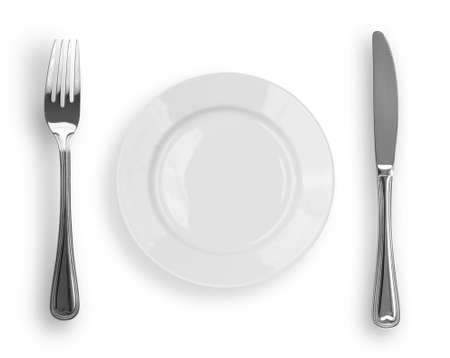 Knife, white plate and fork isolated photo