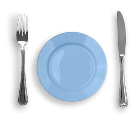 Knife, blue plate and fork isolated photo