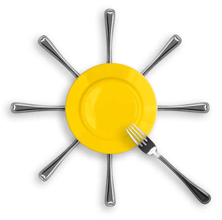Yellow round plate with eight forks in a form of sun photo
