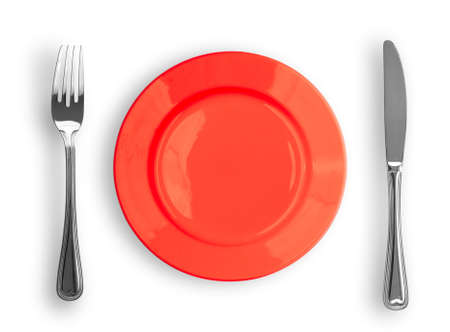 Knife, red plate and fork isolated photo