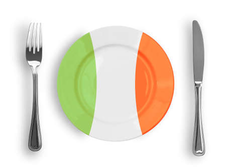 Plate colored in Italian national colors for pizza or pasta photo