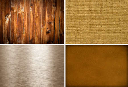 Metal, canvas, wooden and lether textures collection photo