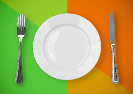 Knife, plate and fork on colorful background Stock Photo - 7075211