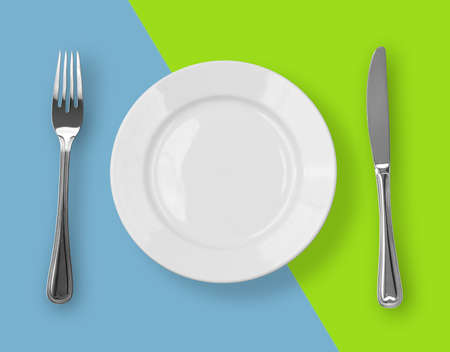 Knife, plate and fork on colorful background Stock Photo - 7075210