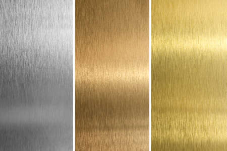 silver background: Aluminum, bronze and brass stitched textures