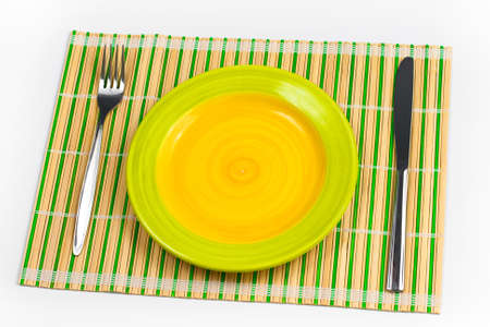 placemat: Bamboo placemat con piastra forchetta e coltello
