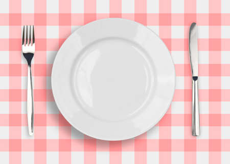 plate setting: Knife, white plate and fork on blue checked tablecloth