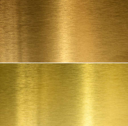 brushed aluminium: Brushed bronze and brass stitched textures Stock Photo