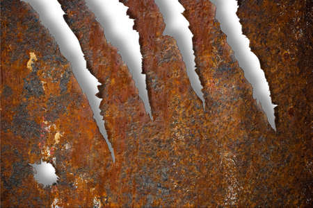 Torn rusty metal texture over white background photo