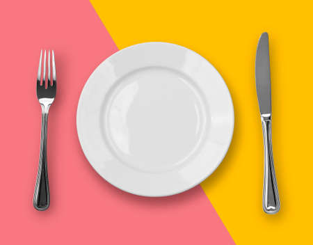 Knife, plate and fork on colorful background photo