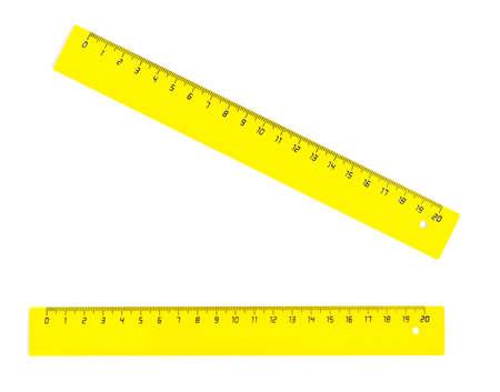 centimetres: Yellow twenty centimetres ruller isolated on white