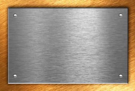 Metal plate with four rivets photo