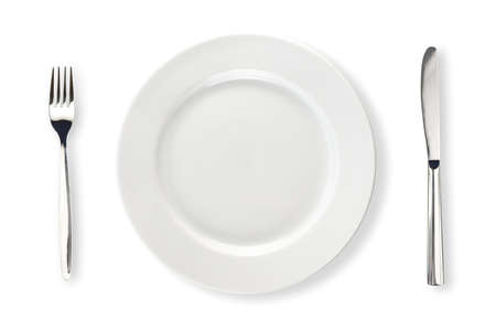 knife and fork: Knife, white plate and fork isolated