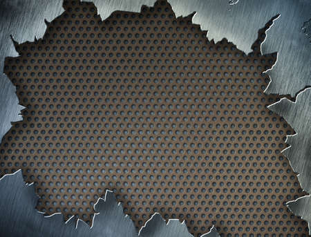 perforated: Cracked metal texture or frame or template for your design