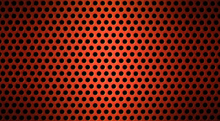 metallic grunge: red metal holed or perforated grid background Stock Photo