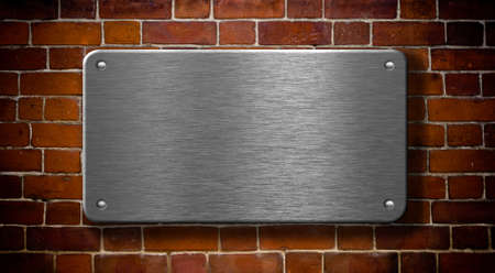 metal plate with rivets on brick wall background Stock Photo - 7975710