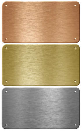 Aluminum, copper and brass metal plates with rivets isolated with clipping path photo