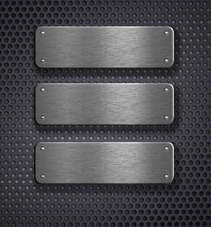 three metal plates over grid background Stock Photo - 7975718