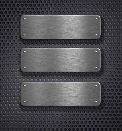 metal grid: three metal plates over grid background