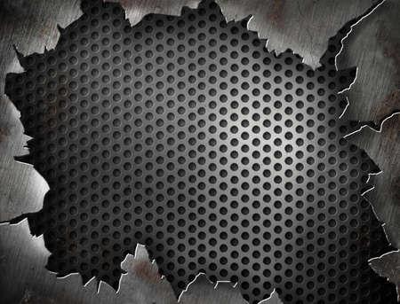 oxidado: Armaz�n de metal agrietado o plantilla para su dise�o