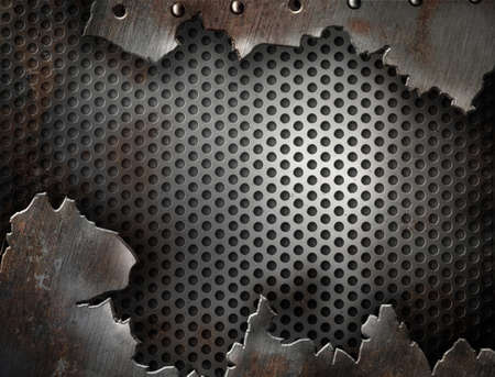 ironworks: crack metal grunge background with rivets