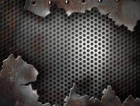 fiambres: Fondo de metal grunge con remaches de grietas Foto de archivo