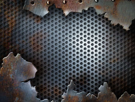 crack metal grunge background with rivets photo
