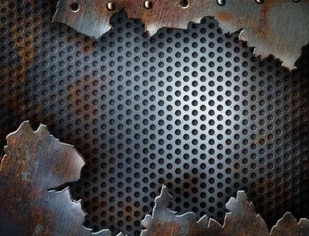 fissure: fissures arri�re-plan grunge m�talliques avec des rivets
