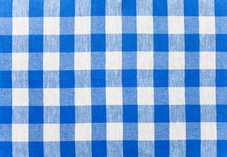 blue checked fabric tablecloth photo