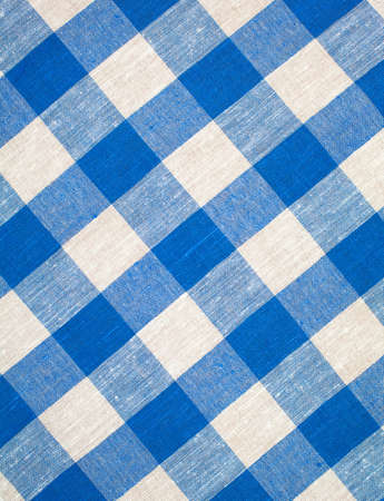 blue checked fabric tablecloth Stock Photo - 8195619
