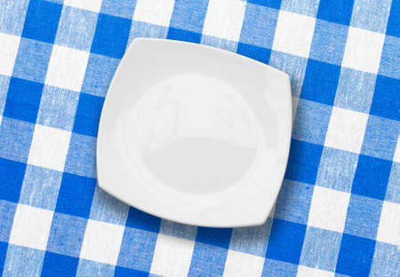 white plate on blue checked fabric tablecloth Stock Photo - 8195630